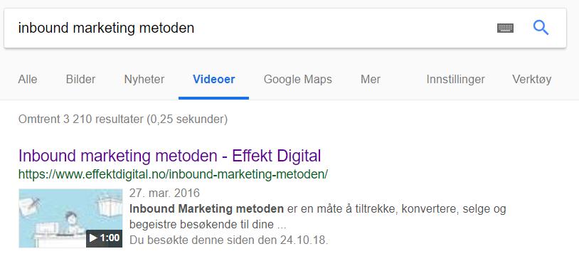 Video gjennom den digitale kundereisen i Google søk
